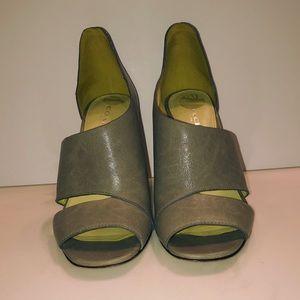 Coach Manhattan leather open toe high heels